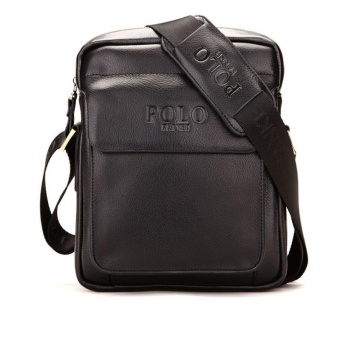 POLO COW Leather Men Business Bag Briefcase Messenger Bag Crossbody Shoulder Bag-large black - intl