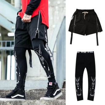 Popular brand hip hop men and women hip-hop false two-piece autumn leggings shorts (8035 shorts + cat leggings)