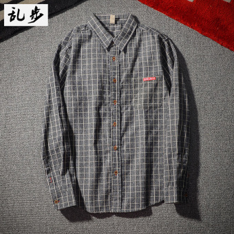Popular brand Japanese-style brushed Slim fit plaid shirt (Long-sleeved plaid shirt gray)