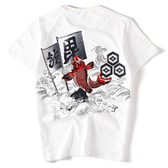 Popular brand Japanese-style cotton monkey carp T-shirt (White) (White)
