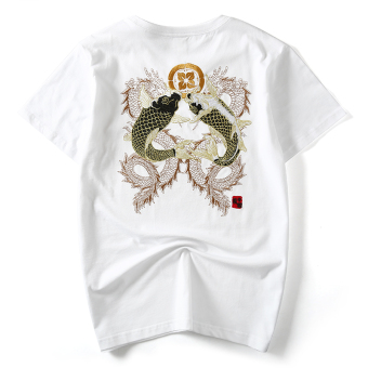 Popular brand Japanese-style embroidered carp Plus-sized T-shirt (White)