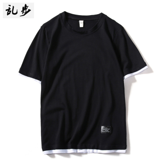Popular brand solid color contrasting color cotton short sleeved t-shirt Top (DT521 fake two-piece short T black)
