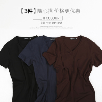 Popular brand solid color men's v-neck on the heattech T-shirt (Short sleeved V-neck-black + PARK'S + dark blue)