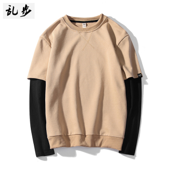 Popular brand stitching Plus velvet male long-sleeved long T-shirt (611 fake two-piece hoodie beige)