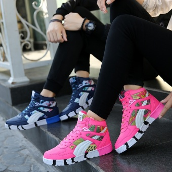 Popular High Sneakers Women Skateboarding Shoes Canvas Sneakers for Women Fashion Sports Shoes Walking Outdoor Shoes ( Pink ) - intl