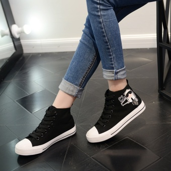 Popular High Sneakers Women Skateboarding Shoes Canvas Sneakers forWomen Fashion Sports Shoes Walking Outdoor Shoes Ready Stock (Black ) - intl