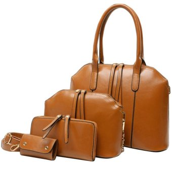 Portable single shoulder diagonal four-piece retro bags (beige)
