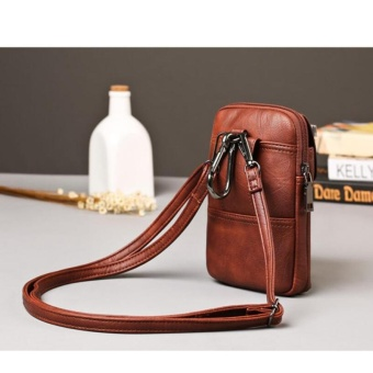 Portable Waist Bags Chest Bags Mini PU Leather Crossbody Bag Shoulder Bags Waist Packs Belt Bag for Men Casual Men Phone Pouch Bags (Coffee) 12X3X19CM - intl