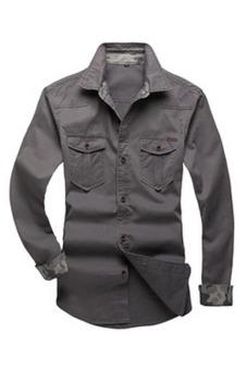 Premium Mens Twill Work Long Sleeve Button Down Shirt (Gray)