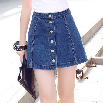 Pretty Korean Breasted Slim High Waist Denim A-linedSkirts(Color:Blue) Price Philippines