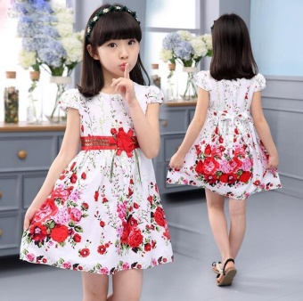 Princess Party Dresses For Girls Wedding Dresses Floral Print Kids Prom Dresses Summer Children Sundress 2 3 4 6 8 9 10 12 Years - intl - 3