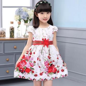 Princess Party Dresses For Girls Wedding Dresses Floral Print Kids Prom Dresses Summer Children Sundress 2 3 4 6 8 9 10 12 Years - intl - 2