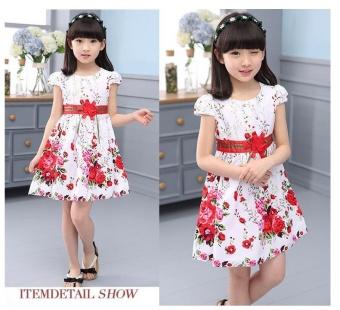 Princess Party Dresses For Girls Wedding Dresses Floral Print Kids Prom Dresses Summer Children Sundress 2 3 4 6 8 9 10 12 Years - intl - 4