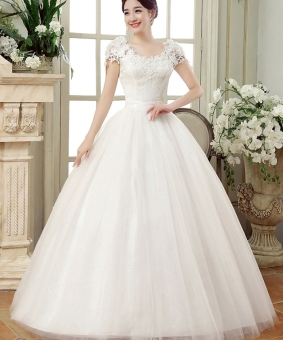 Princess style wedding dress lace white wedding gown - Intl Price Philippines