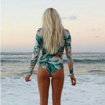 Print Floral One Piece Swimsuit Long Sleeve Swimwear Women Bathing Suit Retro Vintage Surfing Swim Suits - intl - 5
