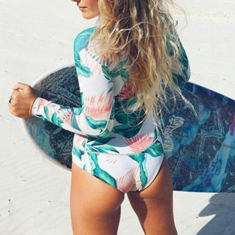 Print Floral One Piece Swimsuit Long Sleeve Swimwear Women Bathing Suit Retro Vintage Surfing Swim Suits - intl - 4