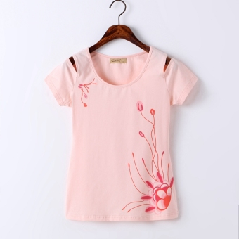 Print short-sleeved t-shirt off-the-shoulder Top (Pink)