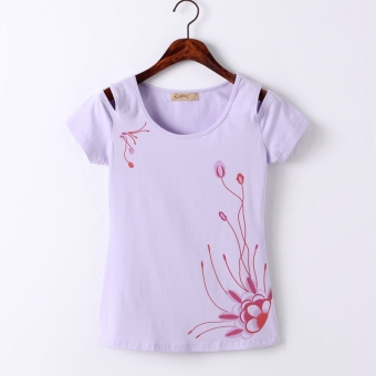 Print short-sleeved t-shirt off-the-shoulder Top (Purple)