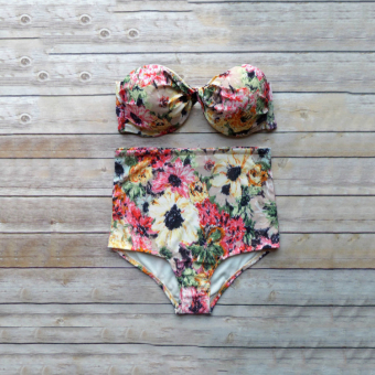 Printed Waist Split Steel Prop Gather Bikini Swimsuit FemaleSwimsuit
