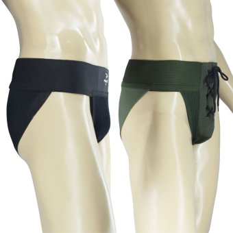 PROCARE #502-538 Supporter Brief 3-inch Waistband 2in1 (Black/Olive Green) - 2