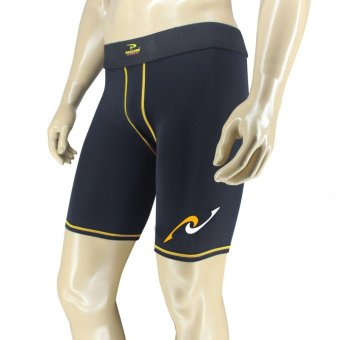 PROCARE COMBAT #8436Y Men Compression Shorts for RunningJogging Basketball (Black/Yellow Flatlock Seam)