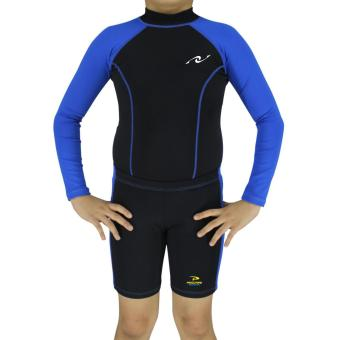PROCARE MARINE #7301AB Dri-Quik Kids Unisex Rash Guard and Short Set, Ultra Violet Skin Protection UPF30+ for Swimming Diving Snorkeling (Black/Blue)