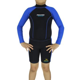 PROCARE MARINE #7307AB Dri-Quik Kids Unisex Rash Guard and Short Set, Ultra Violet Skin Protection UPF30+ for Swimming Diving Snorkeling (Black/Blue)