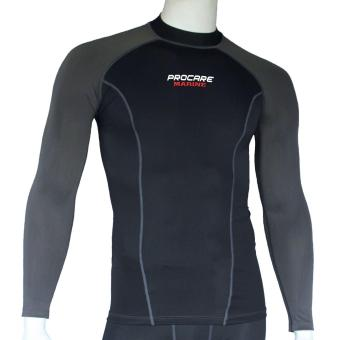 PROCARE MARINE #8338 UPF 30+ Rash Guard Men High Neck for SwimmingDiving Snorkeling Ultra Violet Protection (Black/Gray)