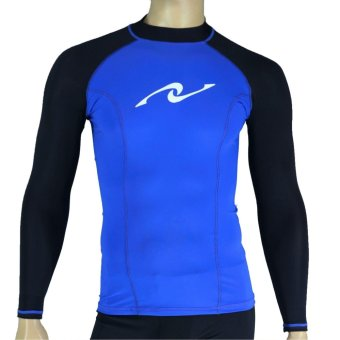 PROCARE MARINE #8357 Dri-Quik Men Rash Guard High Neck UPF30+ UltraViolet Skin Protection for Swimming Diving Snorkeling (Blue/Black)
