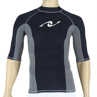 PROCARE MARINE #8373 Dri-Quik Men Rash Guard High Neck QuarterSleeves UPF30+ Ultra Violet Skin Protection for Swimming DivingSnorkeling (Black/Gray)