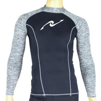 PROCARE MARINE #8376 Dri-Quik Men Rash Guard High Neck UPF30+ UltraViolet Skin Protection for Swimming Diving Snorkeling(Black/Twisted Lt.Gray)