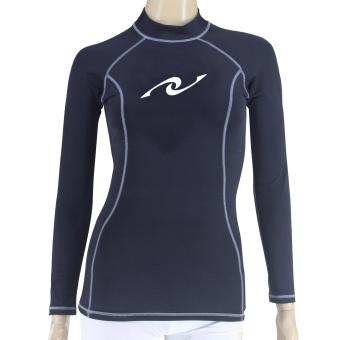 PROCARE MARINE #9371LG Dri-Quik Ladies Rash Guard High Neck UVProtection UPF30+ for Swimming Diving Snorkeling (Black/Lt.GrayFlatlock Seam)