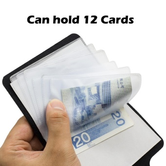PU Leather 12 Slot ID Credit Cards Holder Pocket Wallets - intl