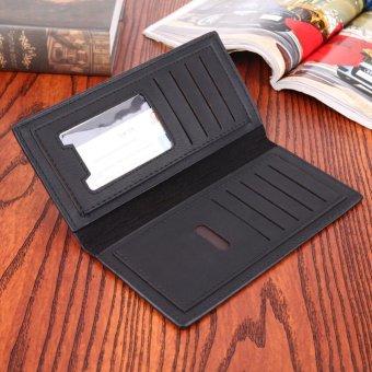 PU Leather Men Long Ultrathin Wallet Card Phone Holder PureClutch(Black) - intl - 5