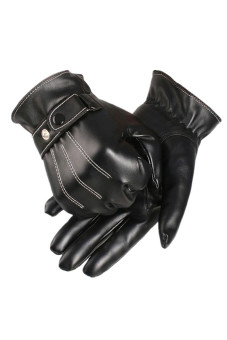 PU Leather Winter Super Driving Warm Gloves Cashmere (Black) - Intl