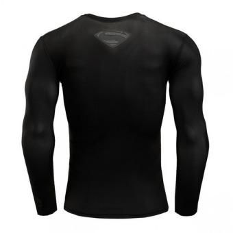 Pudding Korea Korean fashion Tight fitting black Superman T-shirt Black - intl - 3