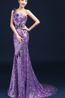 Purple royal evening dress elegant evening gown - Intl Price Philippines