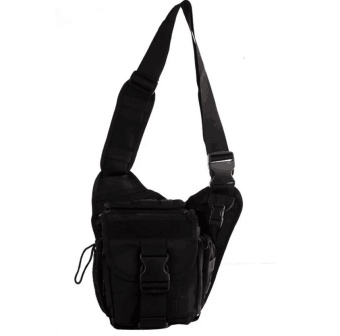 QF Mens Boys 222 Plain Military Messenger Bag (Black) And KoreanBucket Bag (Black)