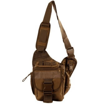 QF Mens Boys 222 Plain Military Messenger Bag (Khaki) And KoreanBucket Bag (Black)