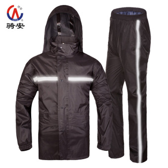 Qian Motorbike Waterproof Reflective Adult Raincoat Set (Black (breathable reflective strip))