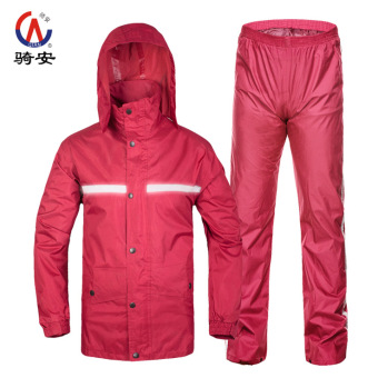 Qian Motorbike Waterproof Reflective Adult Raincoat Set (Purplish red color (breathable reflective strip))