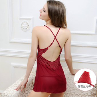 Qingdiaoyiren transparent New style lace women lingerie (Wine red color [Dungaree dress + lace underwear])