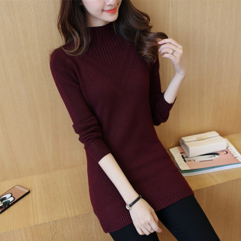 Qiudong female mid-length knitted Top long-sleeved bottoming shirt (Purplish red)