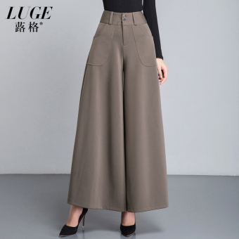 Qiudong female New style Plus-sized ankle-length divided skirt high-waisted wide leg pants (Khaki Song Brother pattern ankle-length culottes)