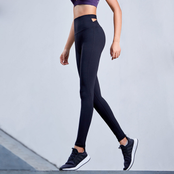 Qiudong female stretch slim fit high-waisted leggings yoga pants (Black)