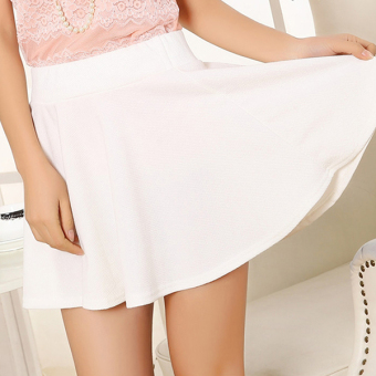 Qiudong female waist skirt Plus-sized half-length skirt (White)