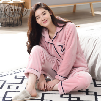 Qiudong flannel winter thick day home clothes coral velvet pajamas (Pink color F8102)