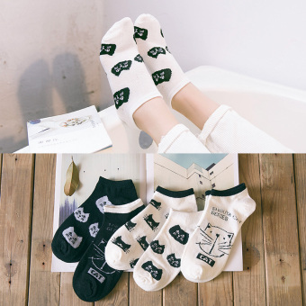 Qiudong Japanese-style deodorizing women's socks short socks (944 cute cat short socks)