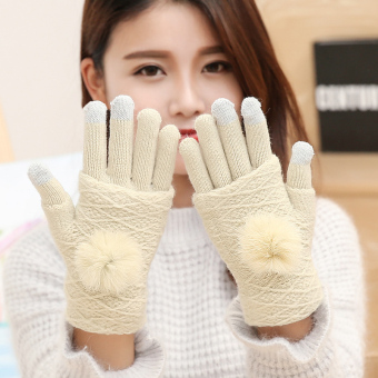 Qiudong knitted touch screen gloves (Beige)