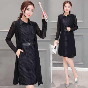 Qiudong Korean-style female long-sleeved Spring and Autumn skirt dress (Black)